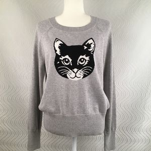 NWT Gap Heather Gray Sweater with Black Cat, L